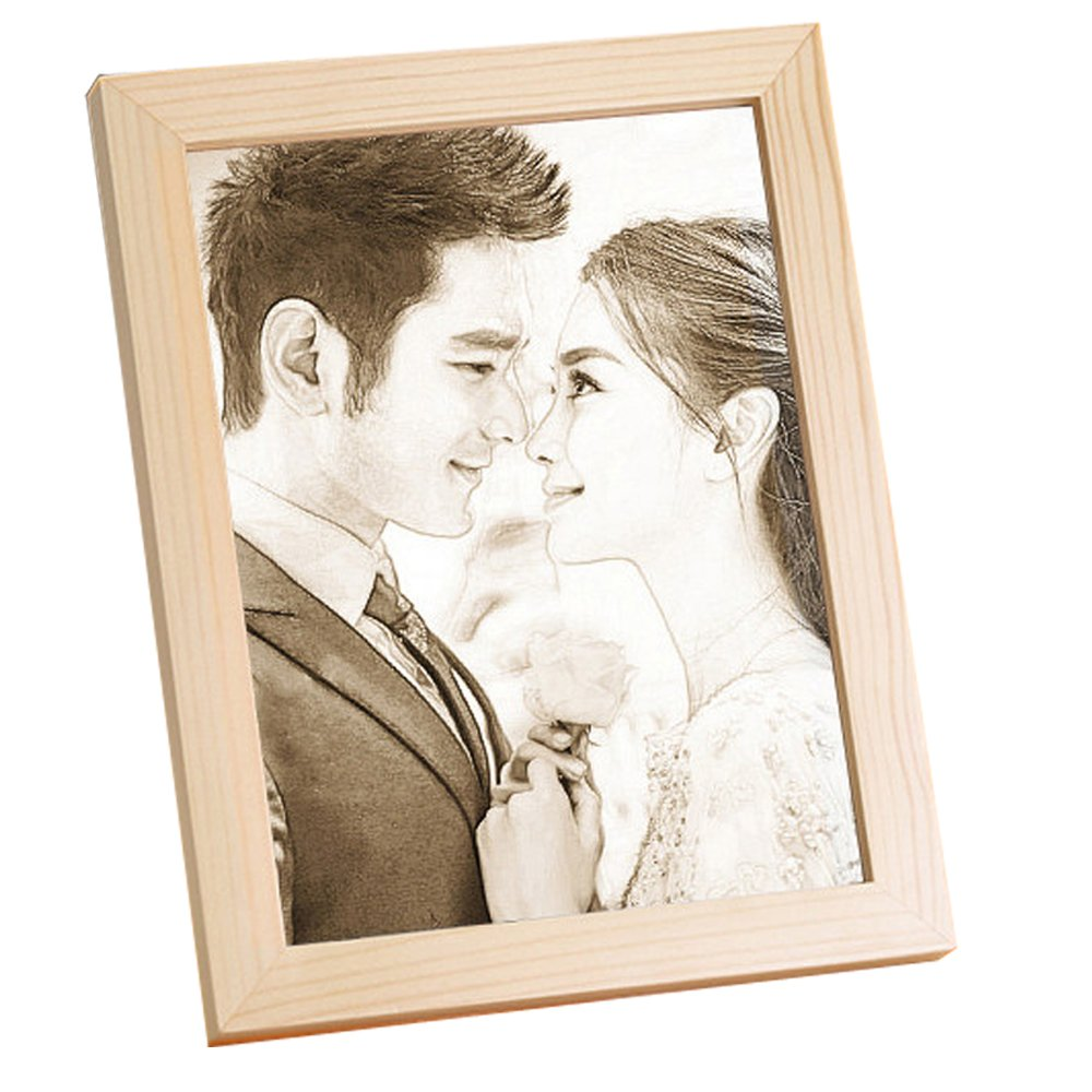 photo Frame Carved on the board Wedding birthday present Customize Christmas gift (Bracket 6)