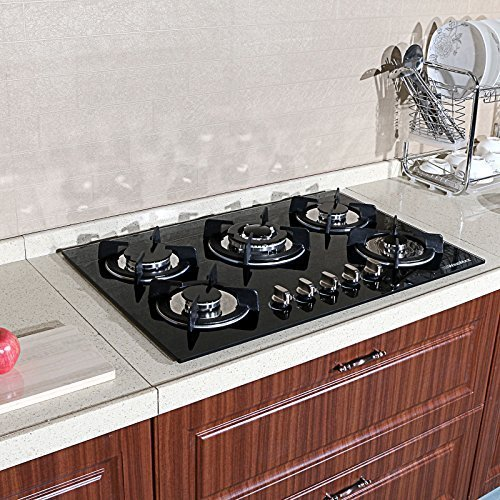30 New Black Tempered Glass Built-in Kitchen NG/LPG 5 Burner Gas Hob CookTop Appliances