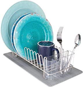 mDesign Compact Kitchen Countertop, Sink Dish Drying Rack and Silicone Drying Mat - Drain and Dry Wine Glasses, Bowls and Dishes - Set of 2, Wire Drainer in Satin with Gray Heat-Safe Mat