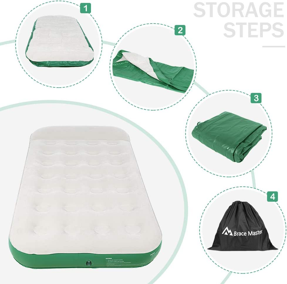 Portable Air Bed Blow Up Waterproof Flocked Fabric Mattress for Camping Car//Guests//Office Lunch Break//Family//Outdoor//Holiday Brace Master Air Mattress with Twin Size and Pillow