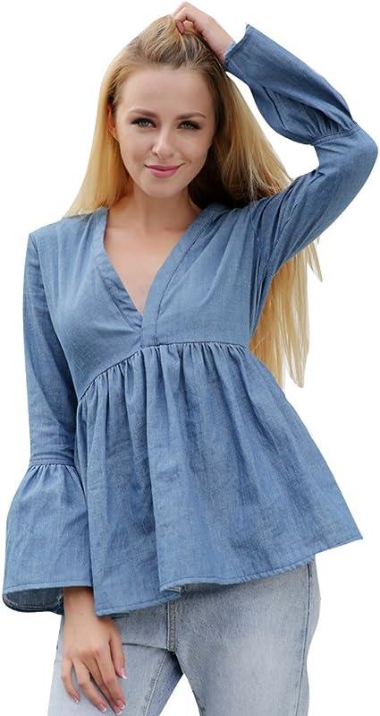 DianShao Mujer V Cuello Camisa Vaquera Camiseta Mangas Largas Elegante Blusa con Volantes: Amazon.es: Ropa y accesorios