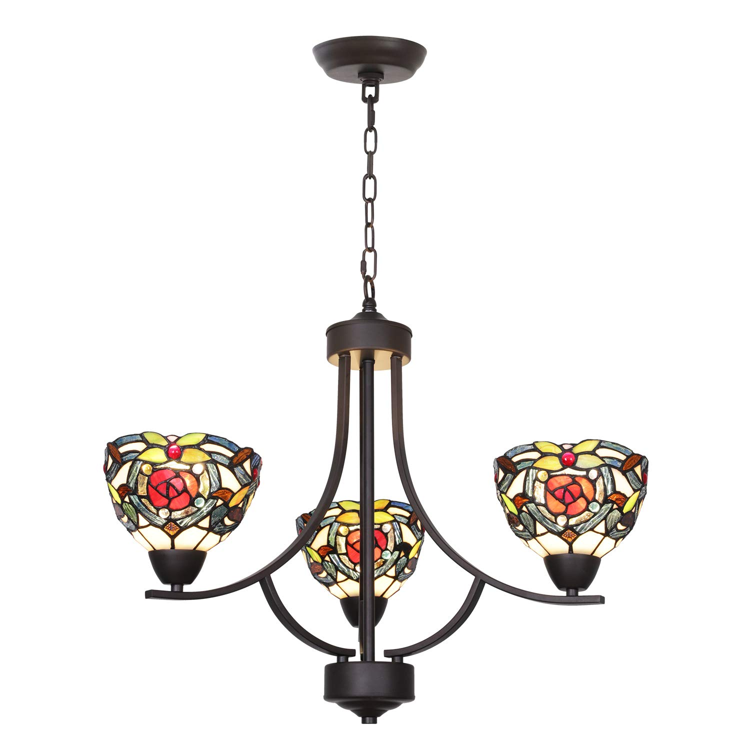VINLUZ 3 Light Tiffany Contemporary Chandeliers with Stained Glass Shade Oil Rubbed Bronze Rustic Light Fixtures Ceiling Hanging Mid Century Pendant Lighting for Dining Room Bedroom Kitchen