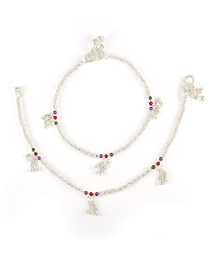 Womens Trendz Handmade Silver Plated anklet//Ghungroo Painjan for Women and Girls