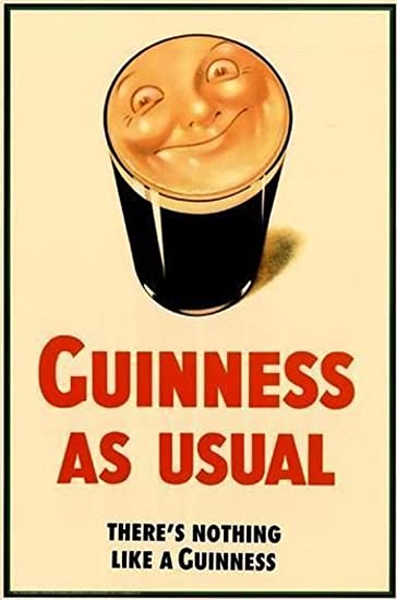 Amazon.com: Guinness as Usual Beer Moon in Pint Vintage Poster ...