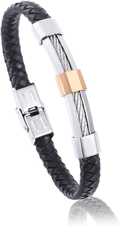 Epinki Hombre Pulsera Titanio Alambre de Acero Trenzado de Moda Negro Plata Brazalete Encantado 210MM