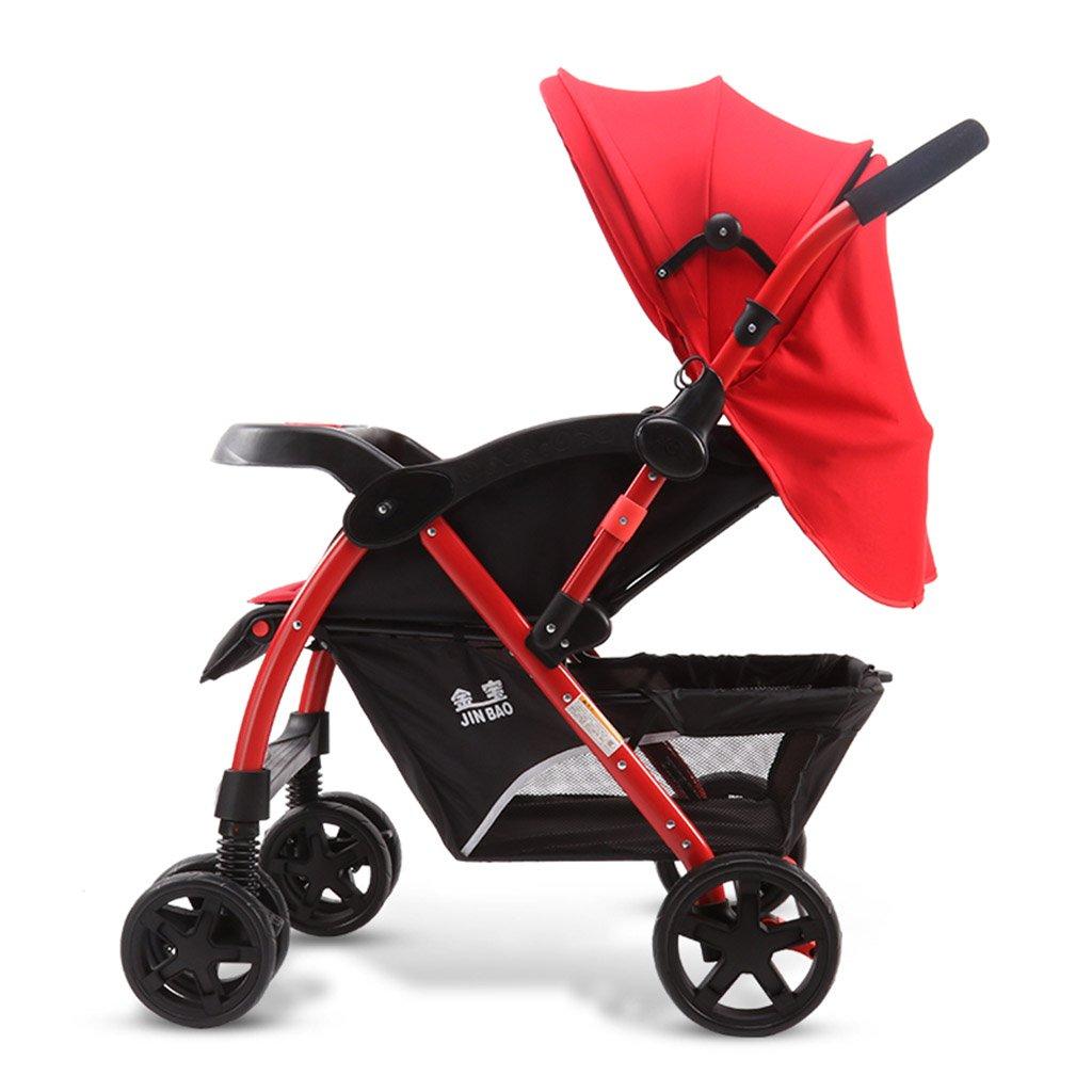HAIZHEN マウンテンバイク ベビーベビーカーは座りやすい/折りたたみ可能な二方向プッシュロッドショックアブソーバEVAフォームホイール調整サンシェインの日よけのベビーキャリッジ 新生児 B07DL6PGYF 赤
