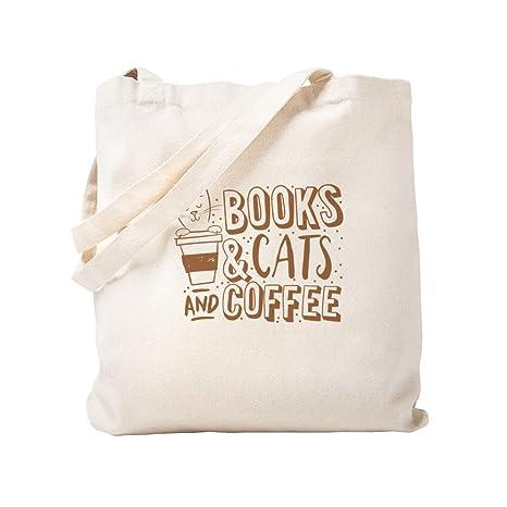 CafePress - Bolsa para libros, gatos y café, lona, caqui ...