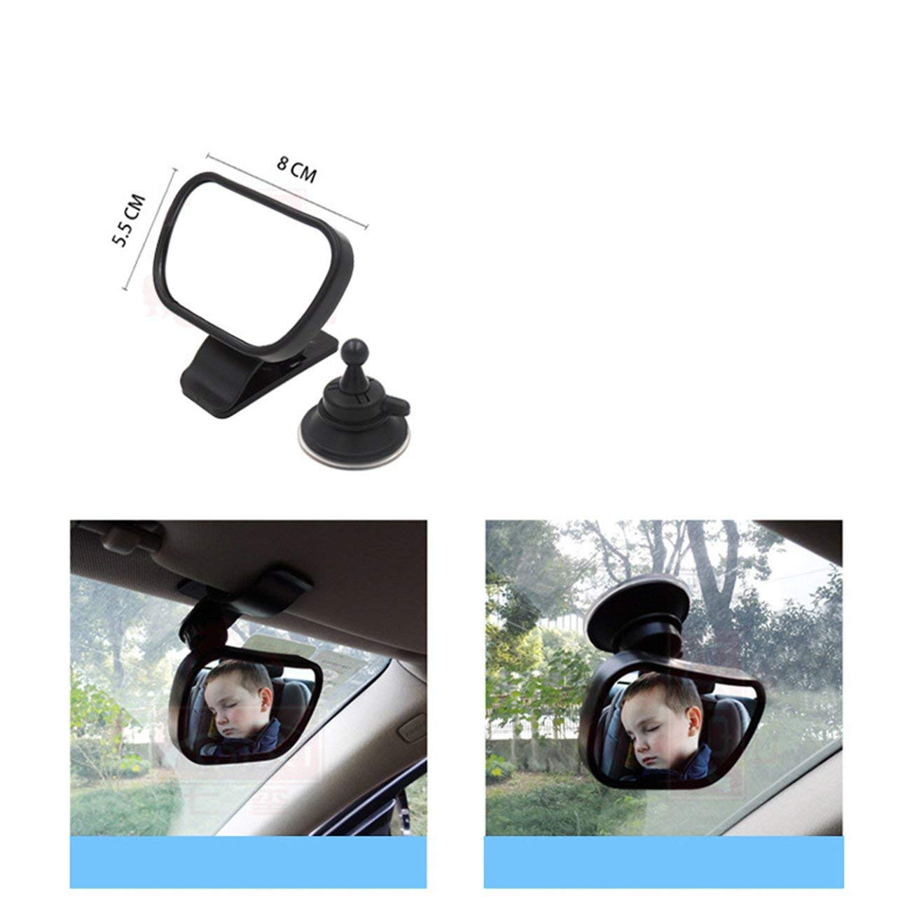 Specchietto retrovisore 2 in 1 per bambino Specchietto retrovisore interno nero