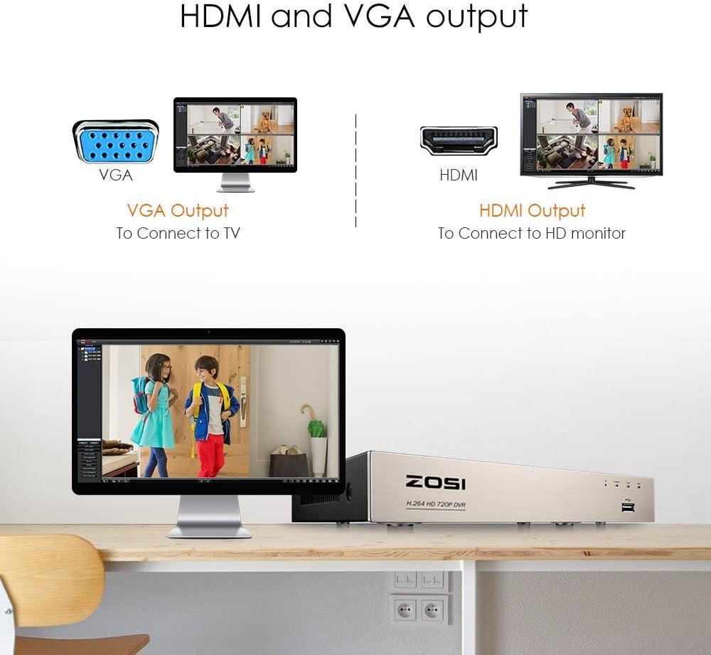 ZOSI 4 Canales 1080P HD TVI/CVI/AHD/Análogo 4-en-1 Grabador de Videovigilancia, 1TB Disco Duro, Salida HDMI/VGA, para Sistema de Seguridad: Amazon.es: Bricolaje y herramientas