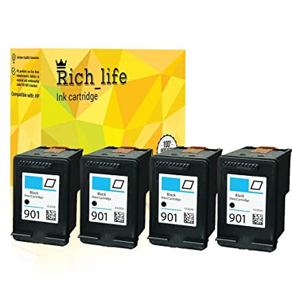 4 Pack para HP 901 negro Cartucho de tinta para impresora HP ...