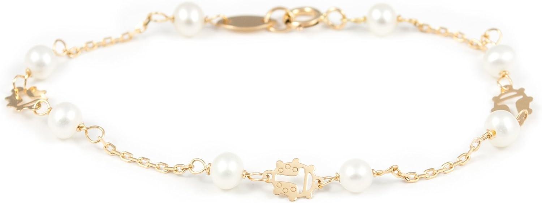 Pulsera Bebe oro Mariquita con perlas