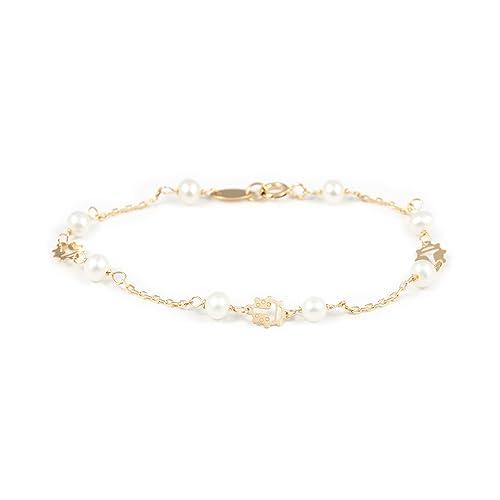 mejor servicio 05171 807e8 Pulsera Bebe oro Mariquita con perlas