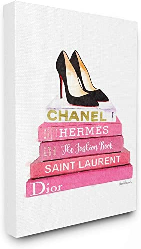 Stupell Industries Glam Pink Fashion Books Black Pump Hells Canvas Wall Art