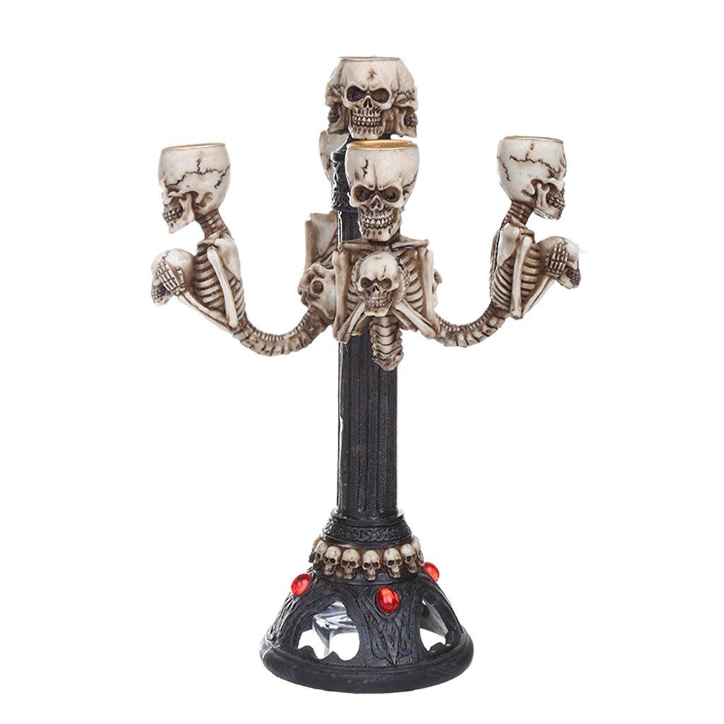 KESOTO Squelette Gothique De Crâne Tableau Punk Halloween Porte-bâton De Bougie Maîtresse