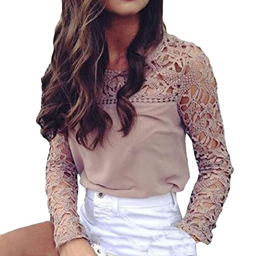 379a3b2f4f481f Image Unavailable. Image not available for. Color: DOINSHOP Womens Sexy O-Neck  Flower Print Fashion Openwork Lace Stitching T-Shirt Blouse