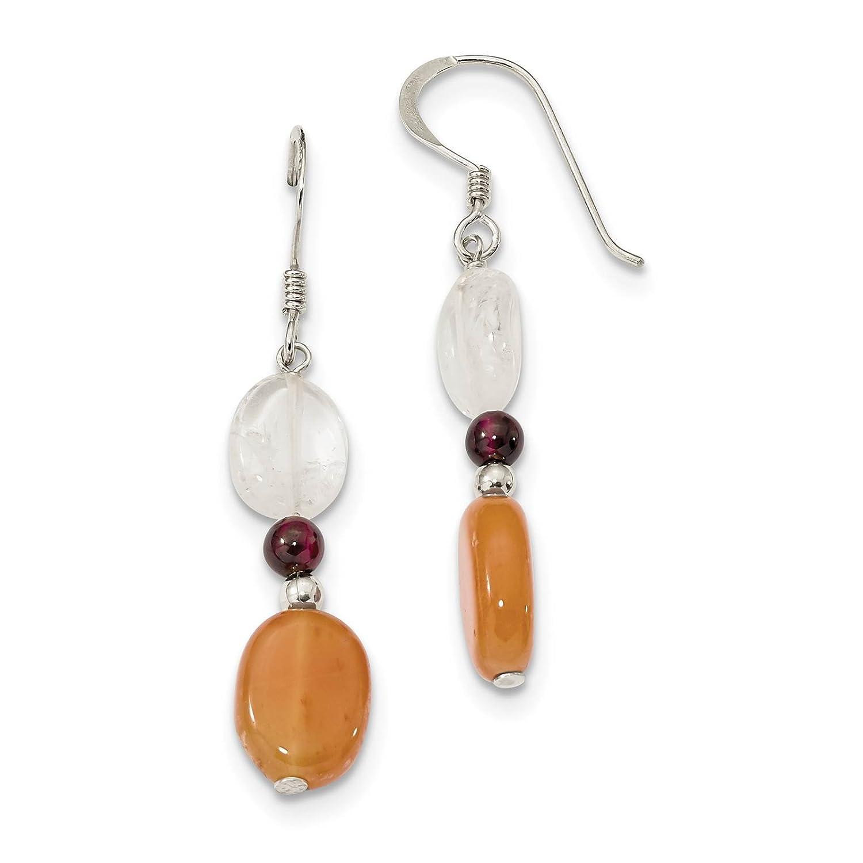 925 Sterling Silver Garnet /& Rock Quartz Dangle Earrings