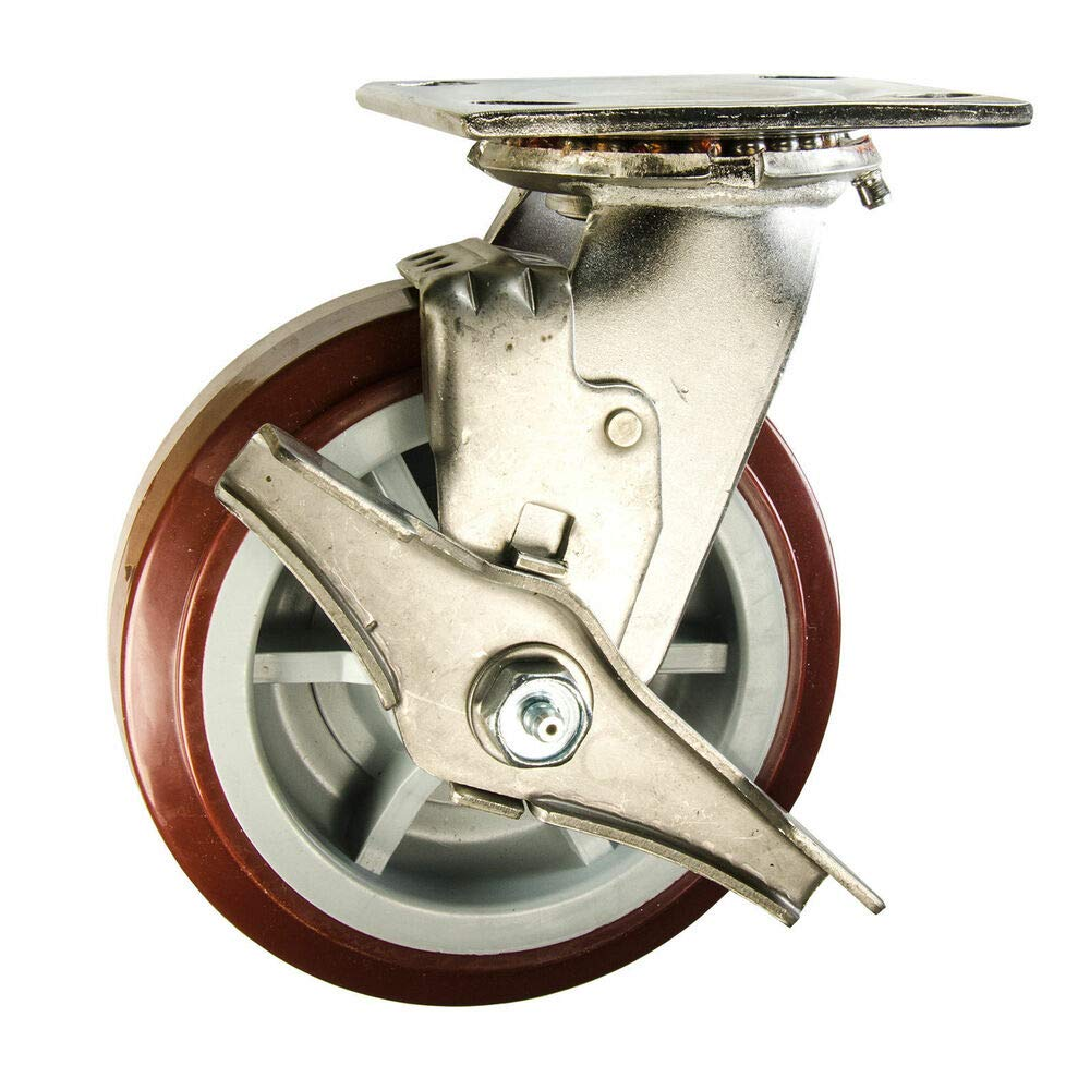 Stainless Steel Swivel Caster with Brake Poly on Poly Wheel Service Caster 6''
