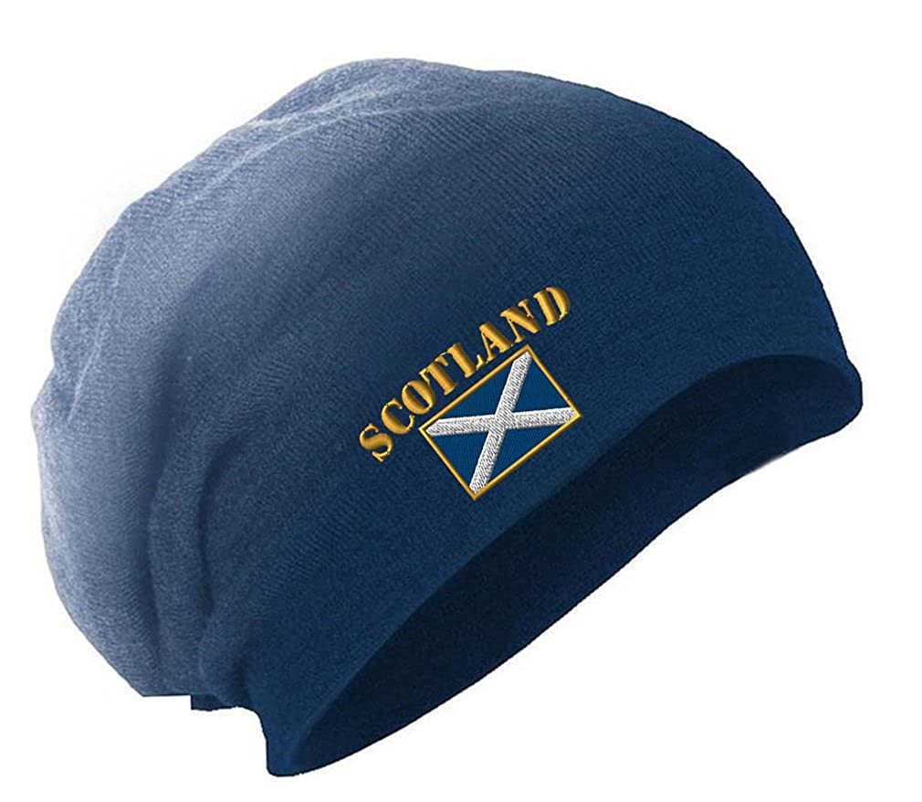 Scotland Flag Embroidery Embroidered Slouch Long Beanie Skully Hat Cap BNSLFLAGNAME128_DG