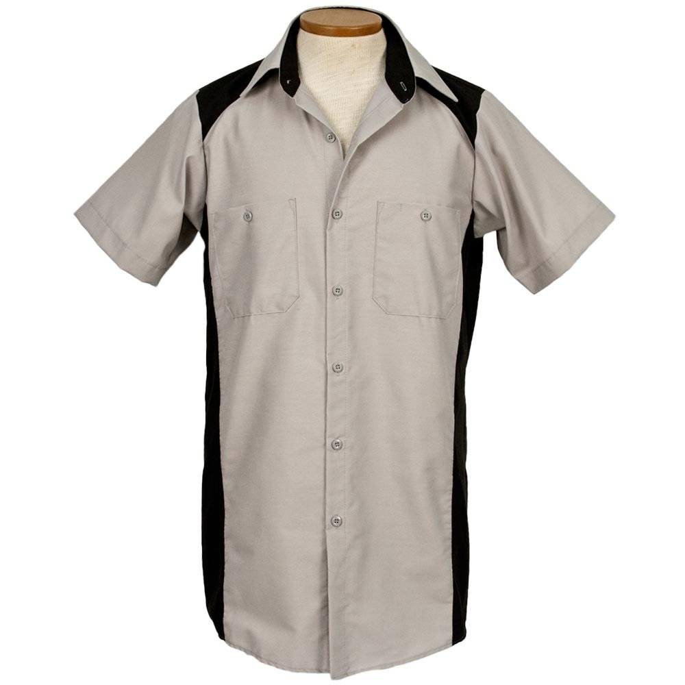 1950s Mens Shirts | Retro Bowling Shirts, Vintage Hawaiian Shirts Garren Bowling Shirt Blank Grey/Black Short Sleeve $19.95 AT vintagedancer.com