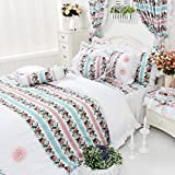 FADFAY Home Textile,Romantic Colorful Rose Jacquard Bedding Set,Elegant Colorful Striped Bedskirt,Brand White Lace Fairy Girls Bedding Sets