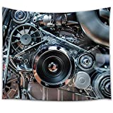 wall26 - Car Engine, Concept of Modern Automobile Motor with Metal, Chrome, Plastic Parts - Fabric Wall Tapestry Home Decor - 68x80 inches