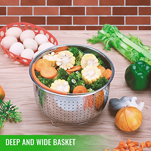 The Original Sturdy Steamer Basket for 6 or 8 Quart Instant Pot Pressure Cooker, 304 Stainless Steel Steamer Insert with Silicone Covered Handle, Great for Steaming Vegetables Fruits Eggs by HOUSE AGAIN (Image #4)