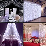 Ucharge 31V Safe Curtain Lights 9.8ft 300led Window Curtain Icicle Lights, Waterproof Christmas Curtain String Fairy Wedding Lights for Outdoor Party Home Kitchen Curtains Window Decorations - White