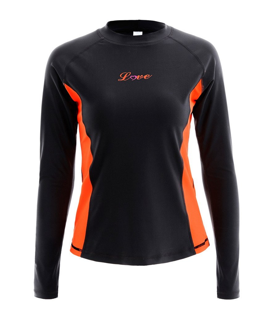 ALove Long Sleeve Rash Guard Top Women UV Shirt Athletic Top for Women Black Small by ALove (Image #2)