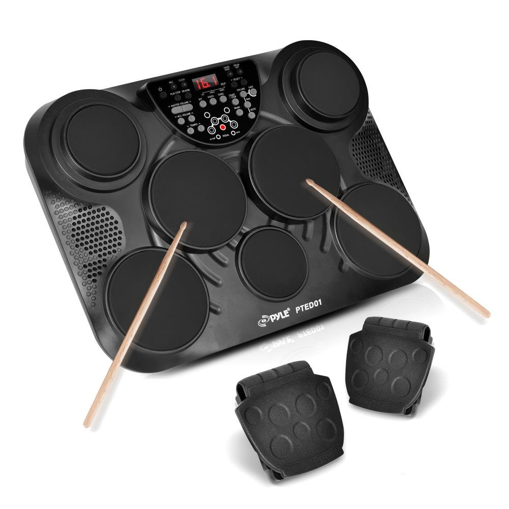 PylePro Portable Drums, Tabletop Drum Set, 7 Pad Digital Drum Kit, Touch Sensitivity, Wireless Electric Drums, Drum Machine, Electric Drum Pads, LED Display, Mac & PC (PTED01) by Pyle