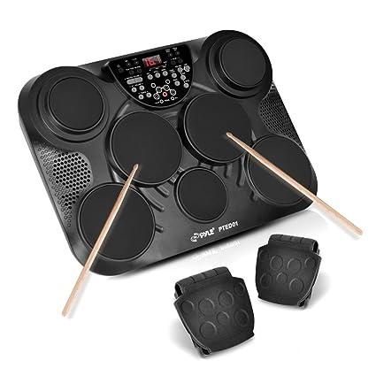 PylePro Portable Drums, Tabletop Drum Set, 7 Pad Digital Drum Kit, Touch  Sensitivity, Wireless Electric Drums, Drum Machine, Electric Drum Pads, LED