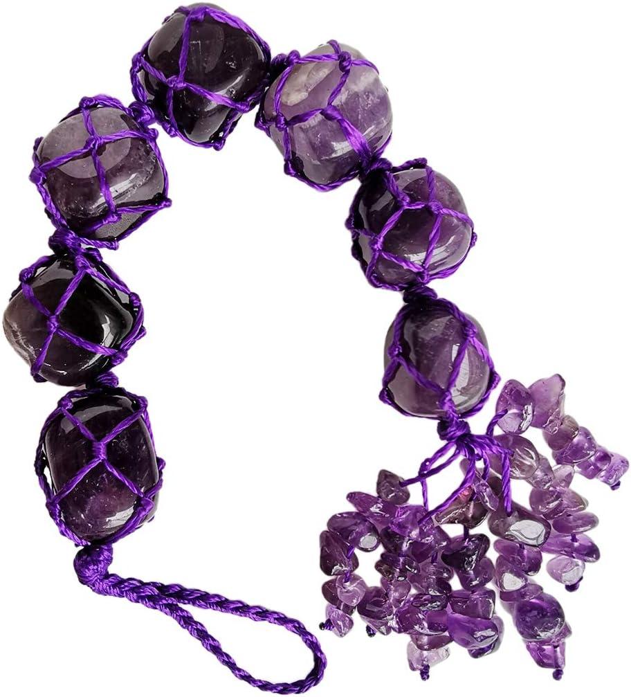 Gemgogo Amethyst Crystal Palm Gemstones Reiki Healing Crystals Hanging Bohemian Car Decor Home Indoor Decoration Charm for Good Luck,Yoga Meditation,Protection Chakra Stones,Feng Shui Ornament