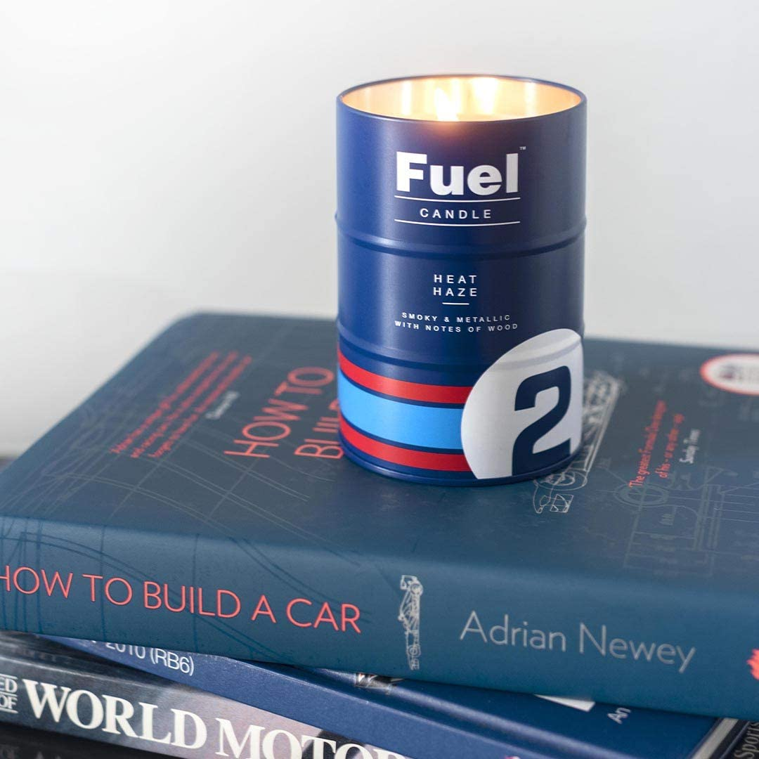 11 x 7.5cm Luckies of London Fuel Motor Racing Inspired Scented Candle Blue