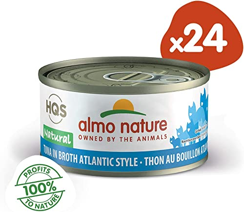 Almo Nature HQS Natural Tuna In Broth Atlantic Style Grain Free Wet Canned Cat Food 24 Pack of 2.47 oz 70g Cans