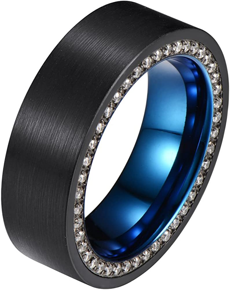tiitc 8mm Black and Blue Tungsten Ring with Cubic Zirconia Channel Inlay Brushed Surface Wedding Band