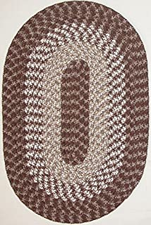 "product image for Hometown 5'6"" x 8'6"" (66"" x 102"") Oval Braided Rug in Sandstone"