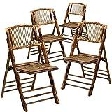Dark Wood Folding Chairs Flash Furniture 4 Pk. American Champion Bamboo Folding Chair