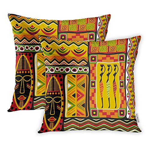 Emvency Set of 2 Throw Pillow Covers Print Polyester Zippered Africa African Aboriginal Abstract Black Pillowcase 18x18 Square Decor for Home Bed Couch Sofa ()