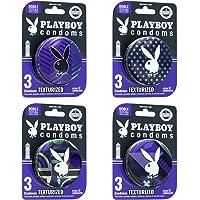 Playboy Condoms 12 Condones Texturizados en 4 Paquetes de 3 Condones c/u