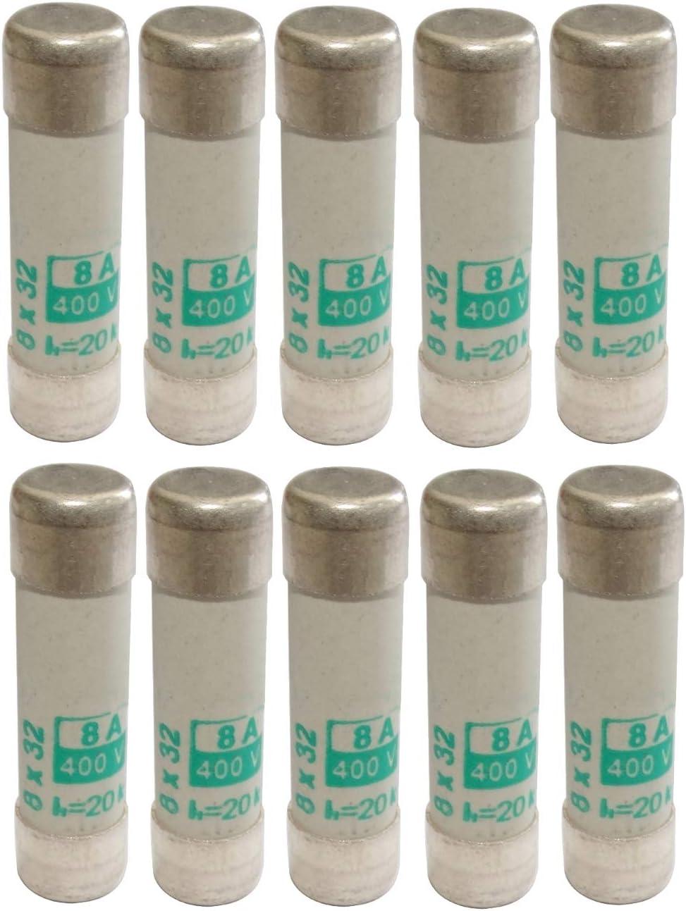 AERZETIX 10x fusible c/éramique aM 3cm 8A 8000mA 400VAC 8x32mm C42373