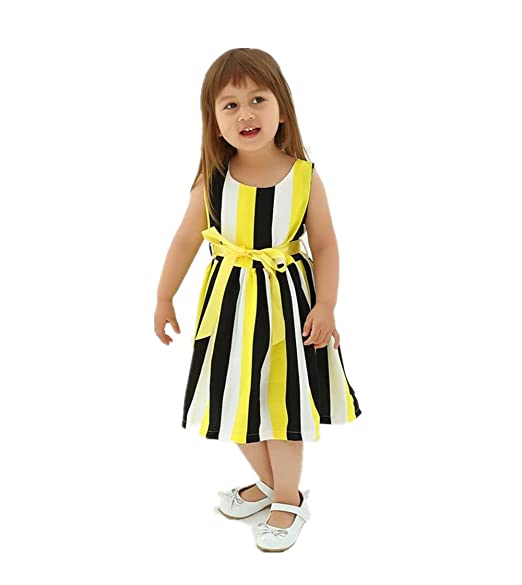 e4dfde38c5d DAWILS Girls Dress Yellow Black White Stripe Summer Sleeveless Dresses Size  3