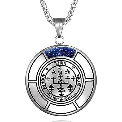 Sigil of Archangel Uriel Magic Medallion Angel Amulet Blue Goldstone  Pendant 18 inch Necklace