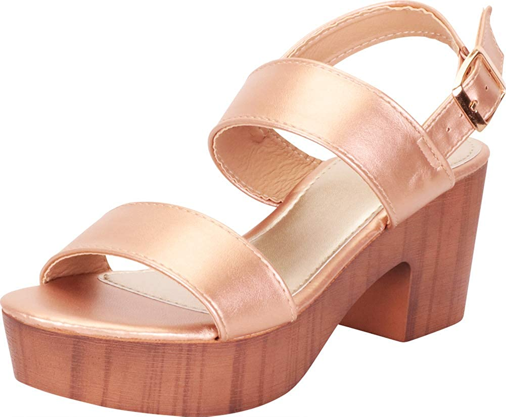 pink gold Pu Cambridge Select Women's Retro 70s Clog Chunky Platform Block Heel Sandal
