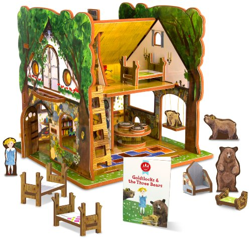 Goldilocks and the Three Bears Dollhouse with Furniture, Dolls, Accessories and Storybook