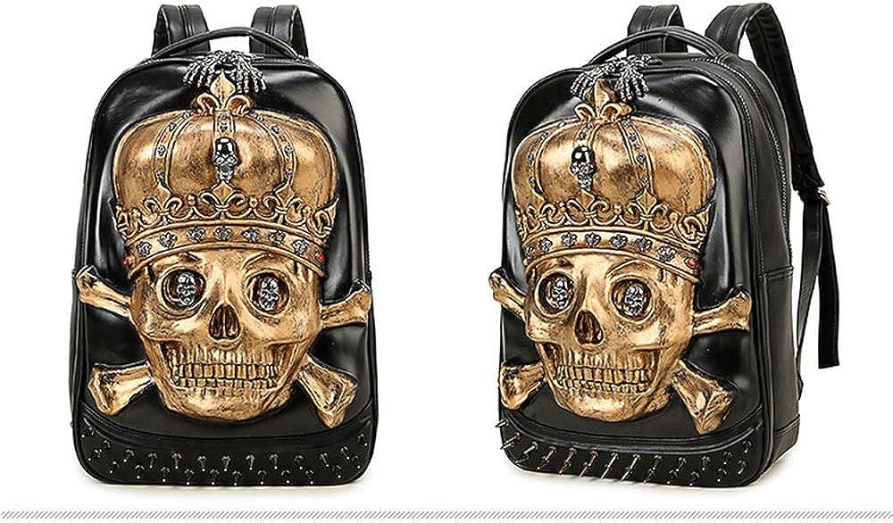 Unisex 3D Animal Travel School Backpacks Big Capacity PU Punk Shoulder Bags Skull gold