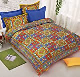 Jaipuri Bedsheets 100% Pure Cotton Rajasthani Katha Kantha Bedsheet for Double Bed ( 1 Bed Sheet with 2 Pillow Covers ) by Viskar Fab Tex