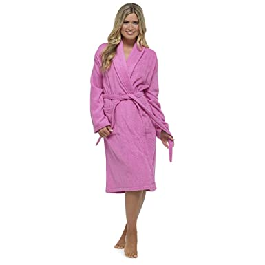 Style It Up Womens Ladies Towelling Bath Robe Dressing Gown 100% Cotton  Terry Spa Soft Warm Wrap with Hood and No Hood (Medium 37a9db48d