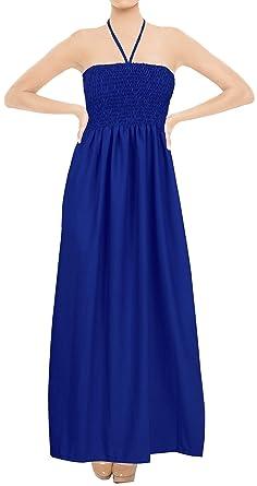 de2666e186b LA LEELA Rayon Solid Swimwear Strapless Tube Dresses Royal Blue 2090 One  Size