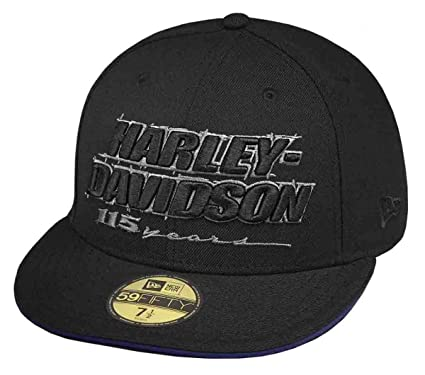 Harley-Davidson Mens 115th Anniversary 59FIFTY Era 5950 Black Wool Fitted  Baseball Cap (7 6589324fd15