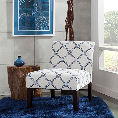 Carver 1006-01-F14 Slipper Chair, One Size, Blue and Beige (Chair Accent Armless Blue)