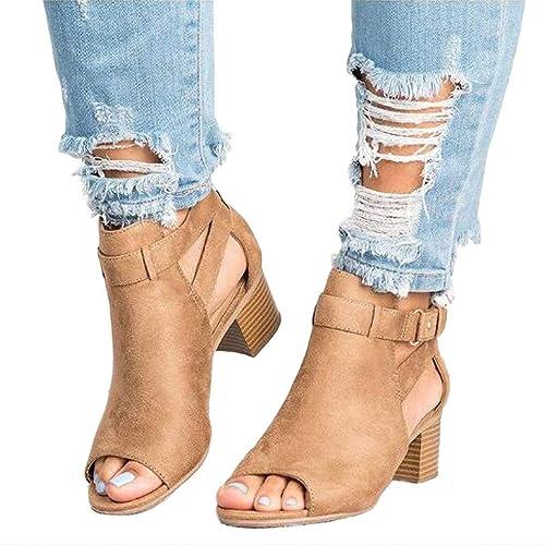 Sandalias de Mujer - Zapatos de tacón Grueso de Ante Hebilla de Moda de  Gamuza de otoño Botas de tacón bajo  Amazon.es  Zapatos y complementos 3a1dcc5e7208